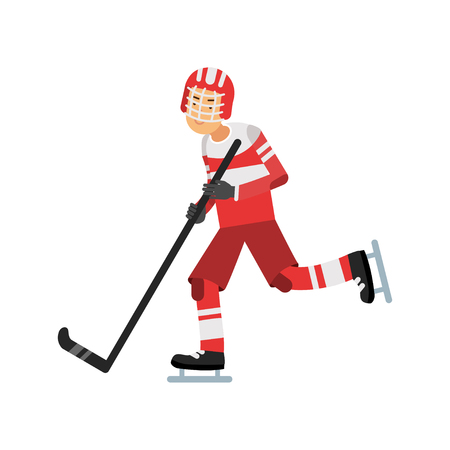 Active teen boy playing hockey, ice hockey player, active lifestyle vector Illustration on a white background Illustration