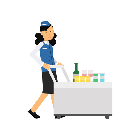 Stewardess in uniform serving passengers on the airplane with cart, airline working process vector Illustration