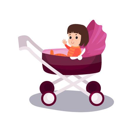 Sweet little girl sitting Illustration