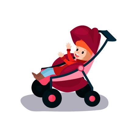 Sweet little kid sitting in a modern baby stroller Illustration