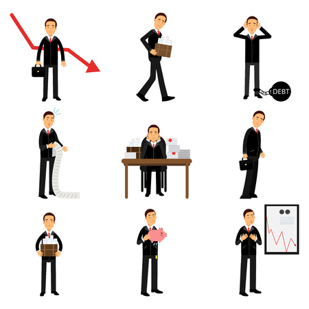 Failed businessman character set,
