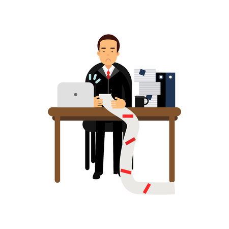Disappointed businessman character looking at long document in office.