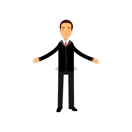 Frustrated businessman character showing empty pockets vector illustration.