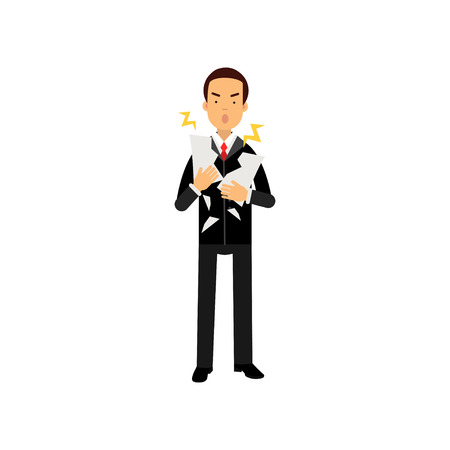 tearing down: Stressed businessman character tearing document to pieces, business and financial failure vector Illustration