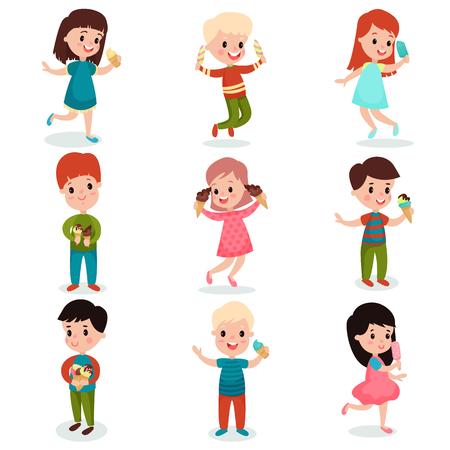 Happy kids eating ice cream set of cartoon vector illustrations Stock Illustratie
