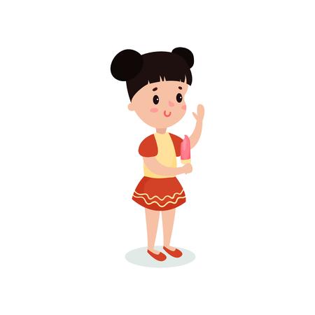 Pretty brunette girl eating ice cream cartoon vector illustration