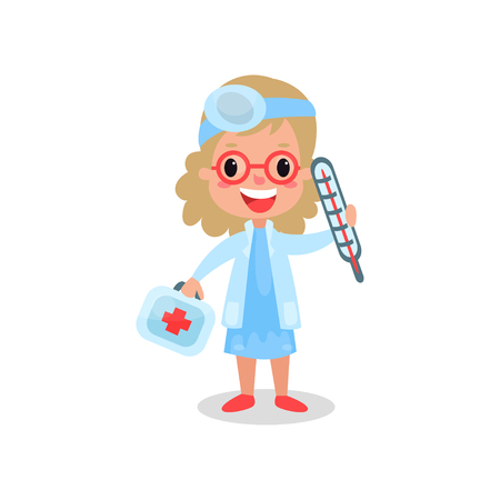 Girl doctor in professional clothing with medical equipment, kid playing doctor vector illustration