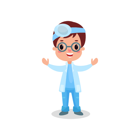 Cute boy doctor in professional clothing with reflector frontal of otolaryngologist, kid playing doctor vector illustration