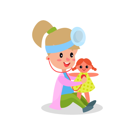 Cute girl doctor in professional clothing treating her doll, kid playing doctor vector illustration isolated on a white background Illustration