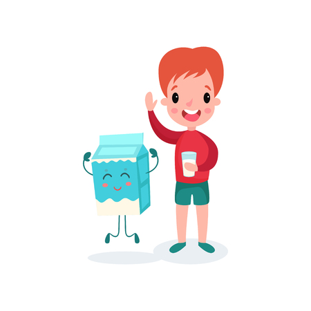 Cute redhead boy playing with smiling humanized package of milk. Healthy food for kid vector illustration.