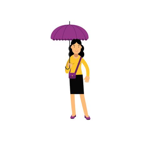 Young brunette woman standing. Ilustração