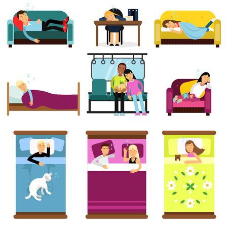 Mensen thuis slapen, op het werk, in transport set cartoon vectorillustraties geïsoleerd op een witte achtergrond Vector Illustratie