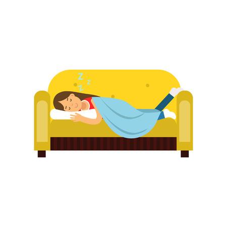 Mujer joven durmiendo en el sofá debajo de la manta, relajante ilustración de vector de dibujos animados de persona aislado en un fondo blanco