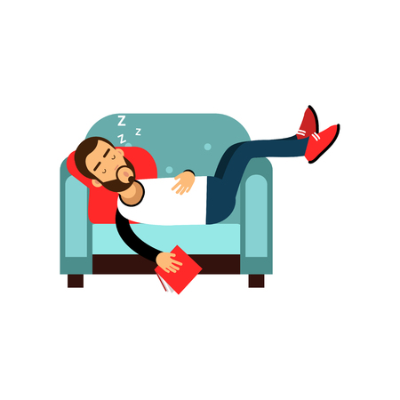 Bearded man sleeping on armchair with book, relaxing person cartoon vector illustration isolated on a white background