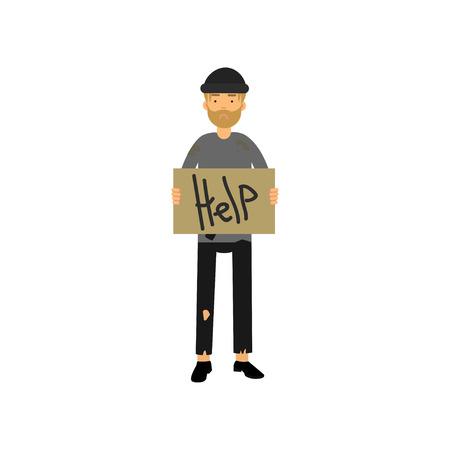 Dakloze mens met uithangbord dat om hulp, vectorillustratie vraagt. Stock Illustratie