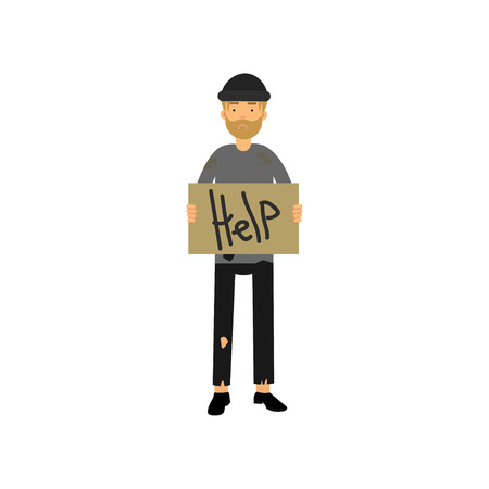 Homeless man with signboard asking for help, vector illustration. Illustration