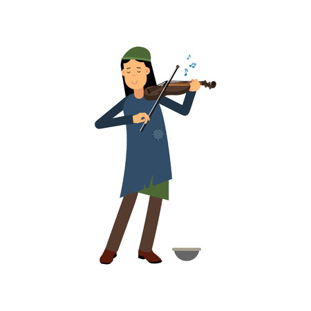 Homeless woman playing violin on the street. Illustration