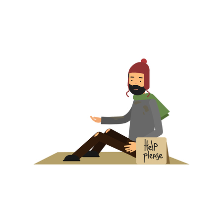 Homeless man in ragged clothes sitting on street asking for help, vector illustration.