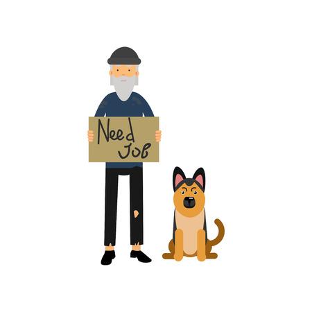 Homeless man with his dog needing for job.