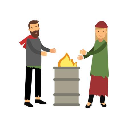 Der obdachlose Mann und die Frau, die nahe dem Feuer sich wärmen, Arbeitslosigkeitsleute, die für Hilfsvektorillustration benötigen Vektorgrafik