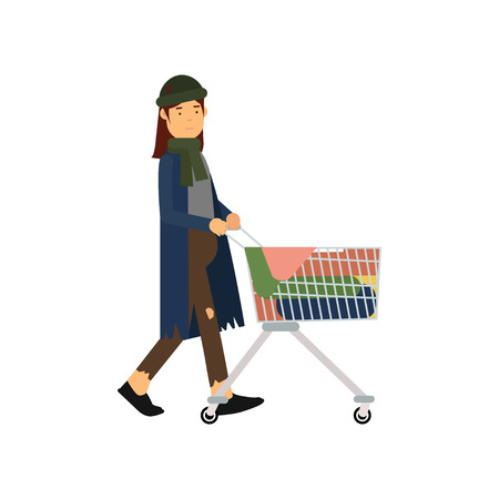 Homeless woman pushing shopping cart with her possessions, unemployment male needing for help cartoon vector illustration