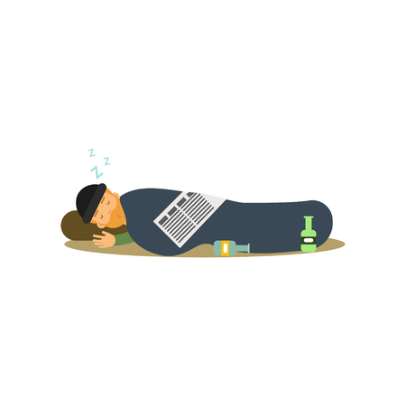 Homeless man character sleeping on the street wrapped in a blanket, vector illustration.