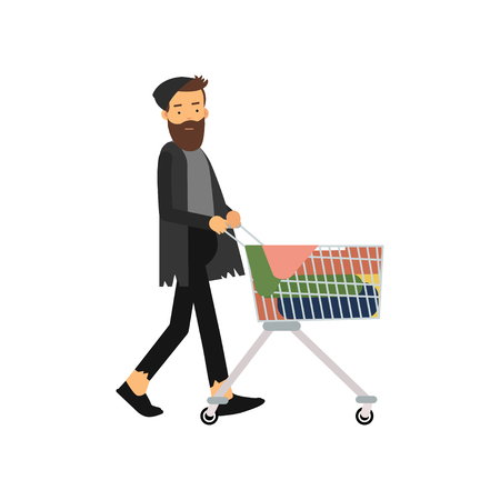 Homeless man pushing shopping cart with his possessions. Illustration