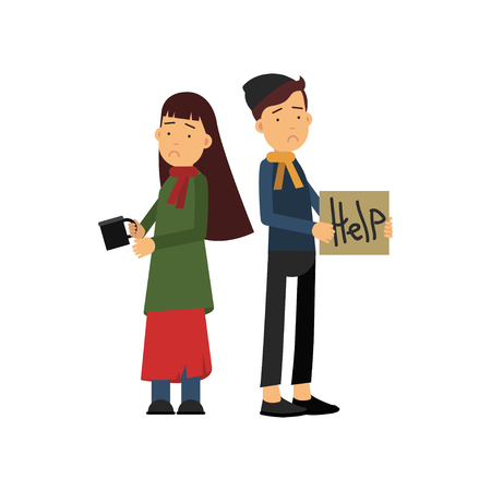 Homeless boy and girl asking for help on street. Illustration