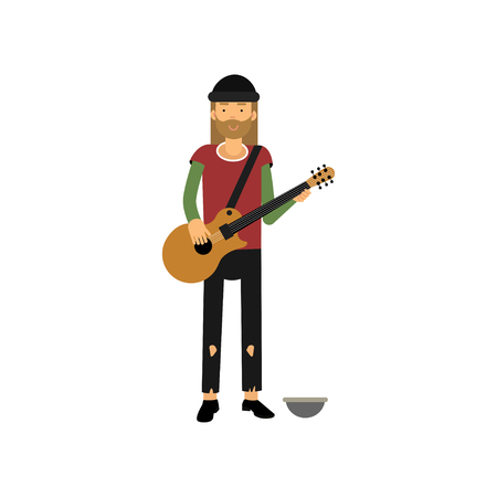 Homeless man playing guitar on the street, vector illustration. Illustration