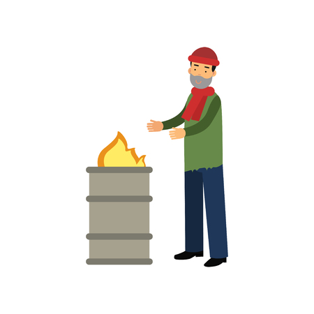 Homeless man warming himself near the fire, vector illustration.