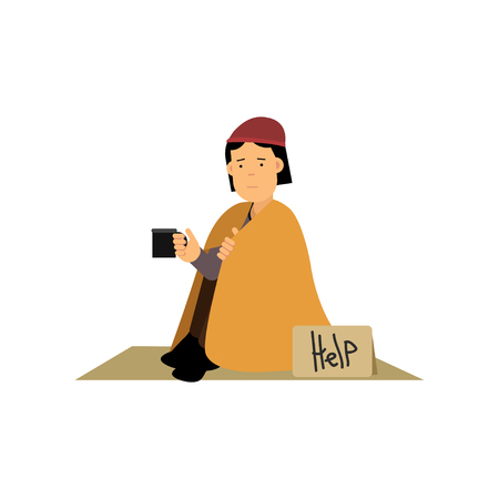 Homeless woman sitting on the street asking for help, vector illustration.