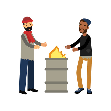 Homeless men warming themselves near the fire, vector illustration.