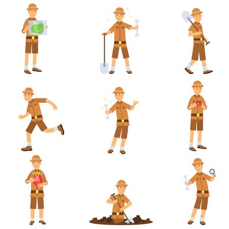 Conjunto de acciones del personaje arqueólogo. Cazador de tesoros en traje de jungla y sombrero. Viajero leyendo caminando con pala, cavando, corriendo, estudiando. Excavaciones y arqueología. Vector de dibujos animados plana. Logos