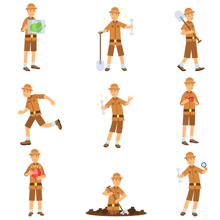 Set of archaeologist character actions. Treasure hunter in jungle suit and hat. Traveler reading walking with shovel, digging, running, studying. Excavations and archaeology. Flat cartoon vector. Illustration