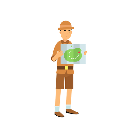Archaeologist character studying the map in cartoon illustration.