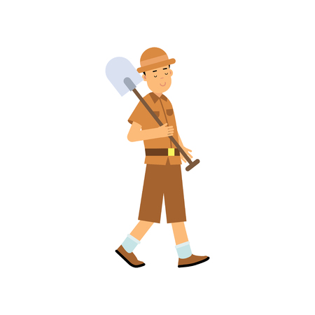 Boy archaeologist character walking with shovel  in cartoon illustration.