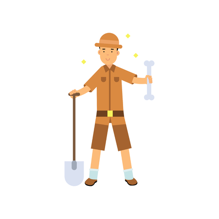 Archaeologist standing with shovel and big bone in hands  in cartoon illustration.