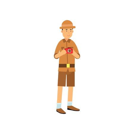 Young archaeologist character with camera in hands  in cartoon illustration. Illustration