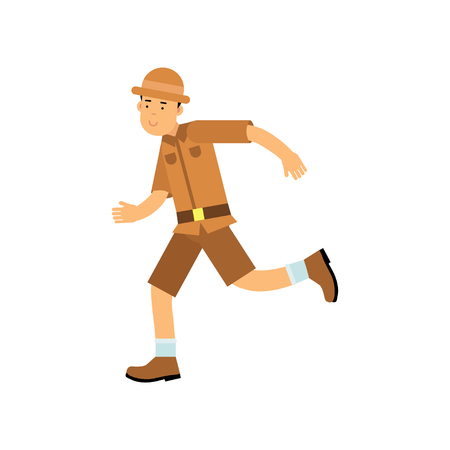 Happy cartoon young archaeologist character running. Treasure hunter in brown jungle suit and hat. Search of ancient artifacts. Excavations and archaeology. Flat vector illustration isolated on white.