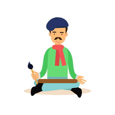 Artist meditating with brush in his hand in lotus pose Illustration