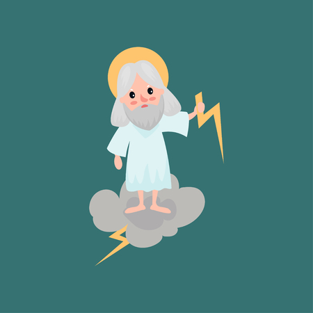 Angry bearded god character throwing a bolt of lightning