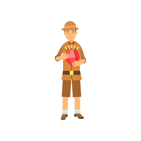 Young archaeologist character standing with red jewel in hands. Treasure hunter in brown suit and hat. Search of ancient artifacts. Excavations and archaeology. Flat vector isolated on white. Illustration