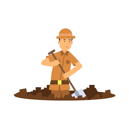 Boy archaeologist character digging pit with shovel