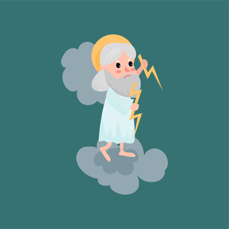 God character throwing a bolt of lightning Illustration