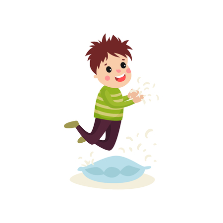 Little naughty boy jumping on the pillow, feathers flying around him. Cartoon character of mischievous child. Bad kid behavior concept. Vector illustration in flat style isolated on white background. Illustration