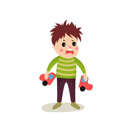 Bad boy with frustrated facial expression holding broken toy car in his hands. Cartoon trouble child character in green sweater and pants. Mischievous kid. Flat vector illustration isolated on white. Иллюстрация