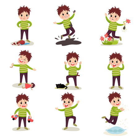 Kid with crazy hair having fun. Breaking things and toys, jumping into mud, tearing flowers, torturing animals, posing faces. Cartoon naughty boy character with bad behavior. Flat vector illustration.