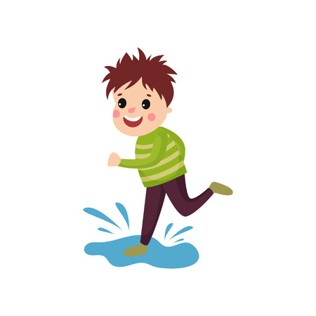 Mischievous little boy jumping on puddle. Cartoon character of playful child with disheveled hair, face showing happy emotion. Trouble kid. Flat vector illustration isolated on white background. Иллюстрация