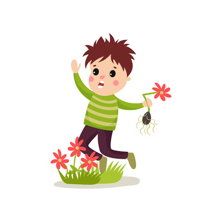 Bully kid flat character jumping on green lawn and treading flowers. Иллюстрация