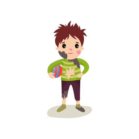 Cartoon character of little boy with muddy face in dirty ragged clothes standing with ball in his hand. Mischievous kid with untidy appearance. Flat design vector illustration isolated on white.